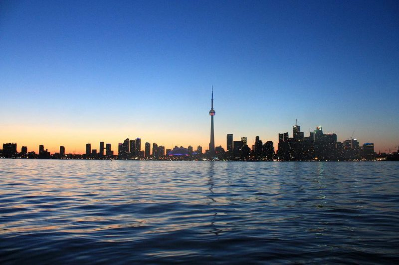 Toronto skyline view from the sea