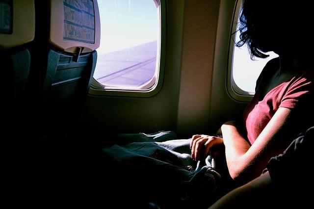 pasajero en un vuelo