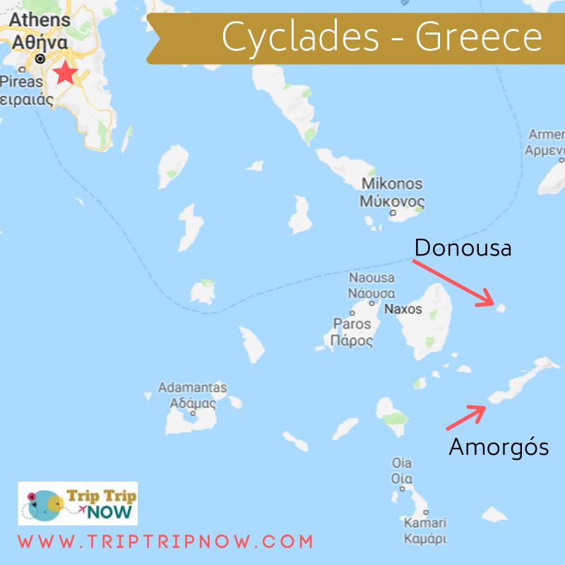 Mapa de las islas Cícladas Grecia