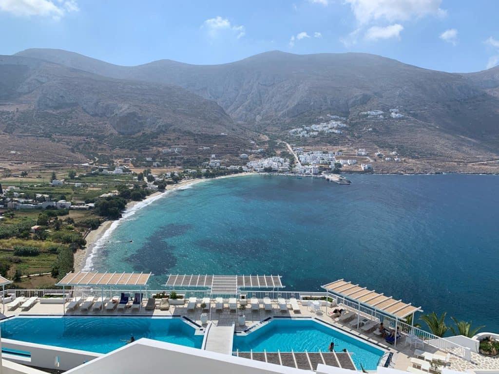 Vista desde el spa del hotel Aegialis en Amorgos