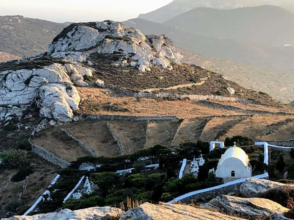 Campo alrededor de Chora en Amorgós, Grecia