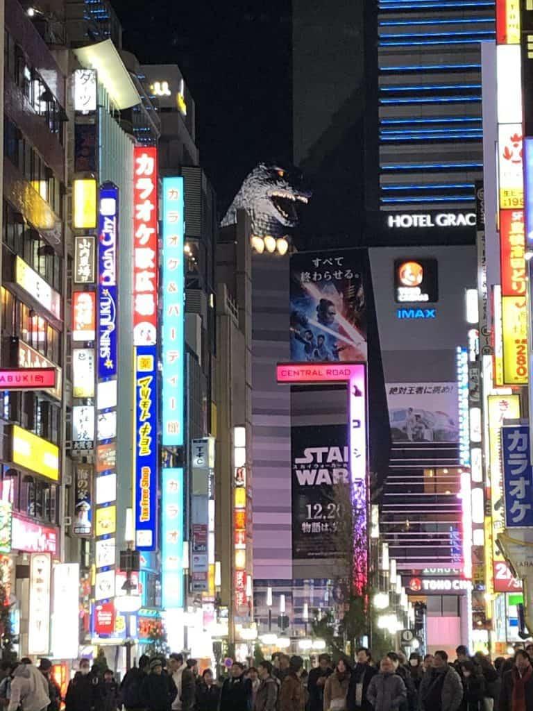 Godzilla head in Shinjuku Tokyo