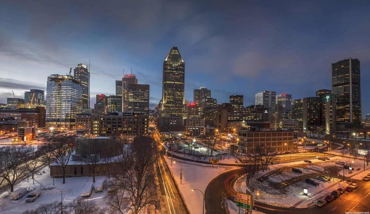 Montreal city view at night