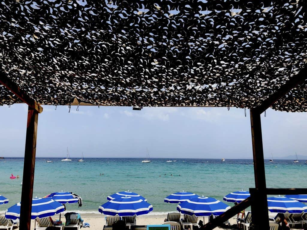 View from a restaurant to the beach in Calvi Corsica