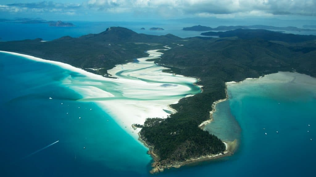 Aereal view from Whitsunday Islands Australia