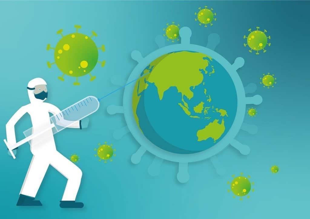covid vaccine world illustration