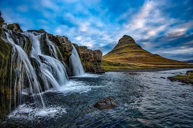 Waterfalls mountains in Iceland