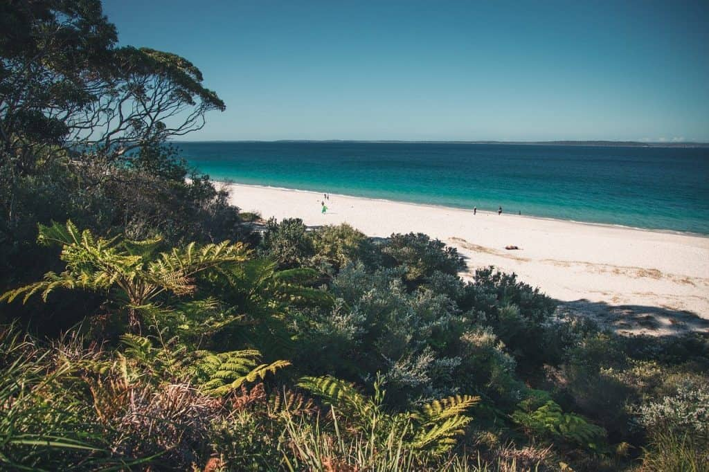 White sandy beach and sea in Jervis Bay, Australia