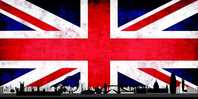 Brexit Uk flag london skyline