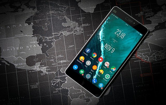 mobile phone on map