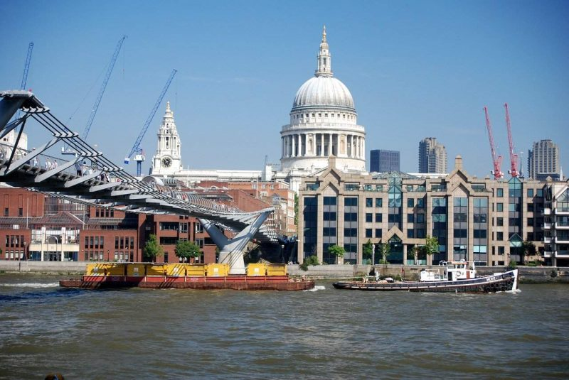St Pauls Cathedral and Millenium Bridge in London