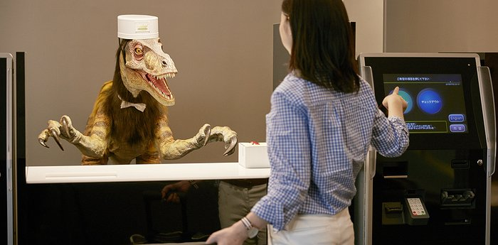 Dinosaur concierge robot hotel in Japan