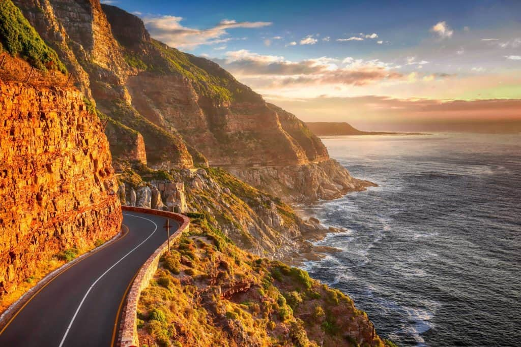 Road on a cliff and the sea in South Coast Australia