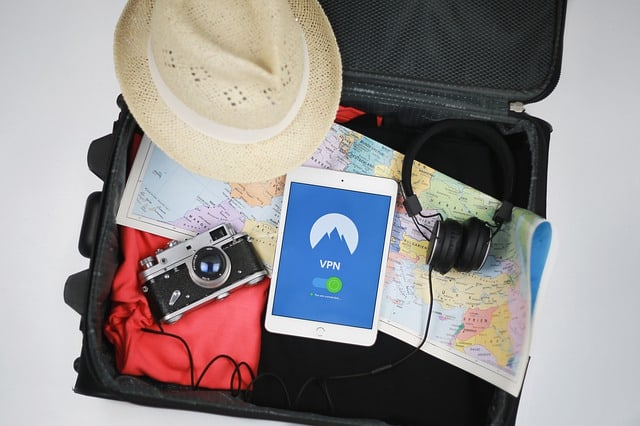 travel bag with camera and tablet