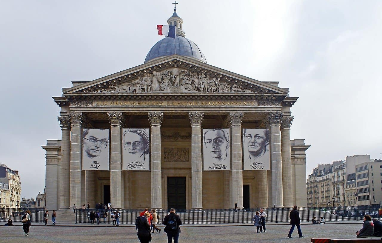 the front façade of pantheon in paris